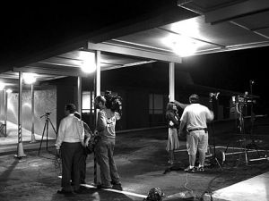 News crews covering the Holloway disappearance, June 10, 2005